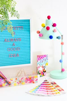 A Kailo Chic Life  DIY It - A Quick and Simple Pom Pom Desk Lamp 45be4ad1892