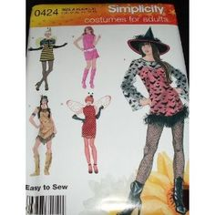 Simplicity 0424 Mod Witch Bumble Bee Native American Costume Pattern Misses Size XS-XL (6 to 24) Plus Sizes Included