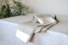 Organic Natural Linen Towels With White Folds Edge Pre-washed Undyed Towels 42 x 55 inches Linen Sheets, Bath Sheets, Striped Towels, Striped Linen, Linen Towels, Hand Towels, New Home Presents, Luxury Towels, Towel Set