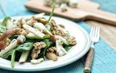 Gemarineerde spinazie met peer walnoten en gorgonzola