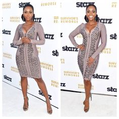 Teyonah Parris looked absolutely amazing in our embellished zip up bandage dress at the Survivors Remorse premiere...steal her style here...http://www.foreverunique.co.uk/all-clothing/agnes-mink-full-sleeved-bandage-dress/prod_3853.html  #teyonahparris #fashion