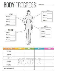 Body Progress Tracker Printable Body by FreshandOrganized on Etsy