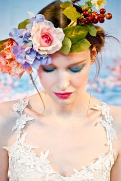 Beautiful boho look from the Claire Pettibone runway show, #weddings