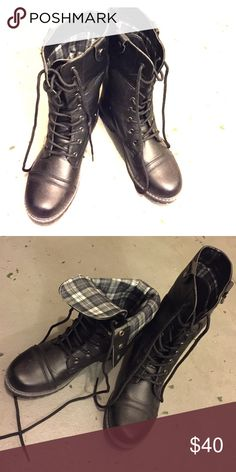 Women foldable plaid lace up military boots Plaid fold over cuff mid calf combat boots with round toe, premium faux leatherette with plaid interior lining, lace up front with grommets, cushioned insole, and rubber stacked sole for comfort wear. Product by Anna. No tags, but never worn. Anna Shoes Combat & Moto Boots