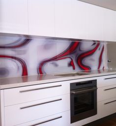 """Printed Kitchen Glass Splash Back - made with love.This began as a photograph of red flower that was taken while spinning around & saying the words """"LOVE & JOY"""" & then completed with some digital art until the feeling felt right. Printed Glass Splashbacks, Glass Installation, Glass Kitchen, Glass Design, Red Flowers, Backsplash, Kitchen Ideas, Spinning, Prints"""