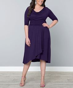 A Very Pretty dress that has Shape from Kiyonna Another great find on #zulily! Purple Drape Dress - Plus #zulilyfinds