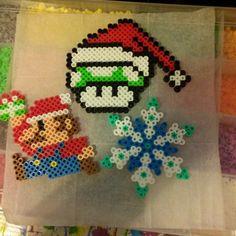 Super Mario Christmas perler beads by beckastar86