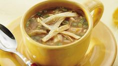Dinner ready in less than 30 minutes! Hearty chicken and rice soup perfect for Southwestern meals!