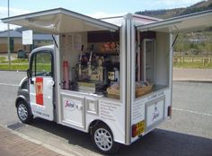 mobile coffee- idea: -a little truck or trailer can park more easily, be less expensive to buy, less expensive to transform into being an adorable mobile cafe!