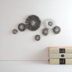 Paper Cog Wall Sculpture Appliques - Recycled Book Art Home Decor Ornaments. $78.00, via Etsy.