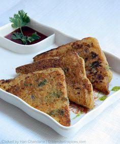 Bread 'Besan' Toast ~ Quick Snack Recipe Under 15 Minutes - Indian Cuisine