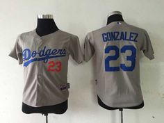 Dodgers #23 Adrian Gonzalez Grey Cool Base Stitched Youth Baseball