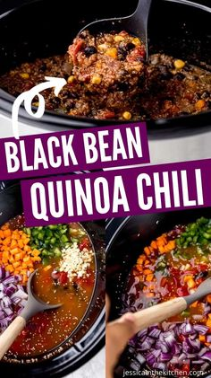 Black Bean Quinoa Chili is made right in your slow cooker. Loaded with hearty quinoa, black beans, corn, tomatoes, and more veggies. Hearty, filling and loaded with nutrients and flavor. Warm up on a chilly day. #blackbean #chili #quinoa #slowcooker #crockpot #dinner Crockpot Quinoa, Crockpot Veggies, Quinoa Chili, Vegan Chili, Beans In Crockpot, Vegan Slow Cooker, Slow Cooker Chili, Slow Cooker Recipes, Slow Cooker Vegetable Curry