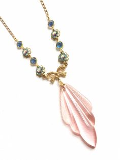 Elegant and Feminine Soft Pink and Blue Vintage Glass and Crystal Beaded Necklace by MissyTRocks on Etsy