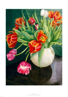 Another fine watercolour of tulips by Rosalind Forster Watercolour, Watercolor Paintings, Printmaking, Tulips, Fine Art Prints, Cards, Pen And Wash, Watercolor Painting, Water Colors