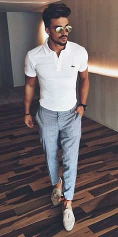 polo shirt with trousers with grey suede loafers #men'scasualoutfits
