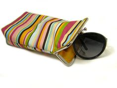 Sunglass Case  100 cotton   Colored Stripes  Silver by shusha64, $28.00