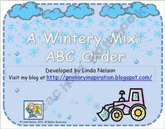 Winter words/picture cards for ABC order. Free
