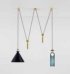 Shape Up Double Pendant (Blackened steel cone) Designed by Ladies & Gentlemen Studio for Roll & Hill