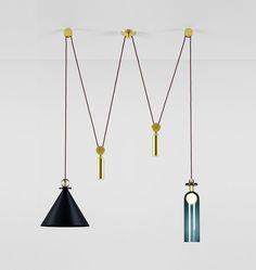 Shape Up Double Pendant (Blackened steel cone) Designed by Ladies & Gentlemen Studio for Roll & Hill