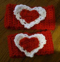 Crochet Double Heart Headband Headwarmer by stork1 on Etsy