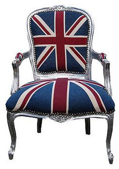 Vintage Style Union Jack Throne Chair eclectic armchairs