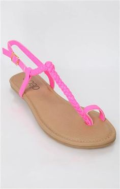 Deb Shops braided t strap sandal with toe strap Neon Sandals, Cute Sandals, T Strap Sandals, Flip Flop Sandals, Flip Flops, Flats, Flat Wedges, Deb Shops, Carrie Bradshaw