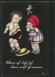 old postcard: AK Junge und Mädchen weinen über seine zerrissene Hose