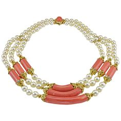 Sensational Van Cleef & Arpels Coral Pearl Diamond Gold Necklace | From a unique collection of vintage choker necklaces at https://www.1stdibs.com/jewelry/necklaces/choker-necklaces/