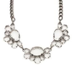 Crystal and chain statement necklace.