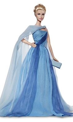 "Grace Kelly Barbie, blue chiffon dress from the 1955 Hitchcock movie, ""To Catch A Thief""."