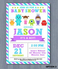 Printable custom monster inc baby shower invitations monster inc monster inc baby shower invitation monster baby shower invitation monster inc baby invite filmwisefo