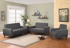 Mid Century Linen Upholstery Sofa Set