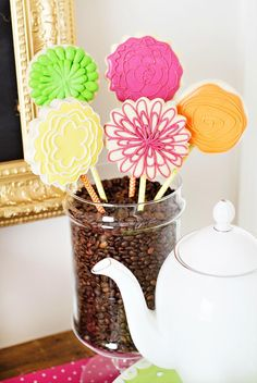 """Shower mom with dozens of gifts this Mother's Day. We love this bright and happy """"Coffee with Mom"""" brunch featuring Tiny Prints gifts and more. Mothers Day Event, Best Mothers Day Gifts, Mothers Day Brunch, First Birthday Parties, First Birthdays, Flower Sugar Cookies, Mother's Day Cookies, Cute Banners, Happy Coffee"""