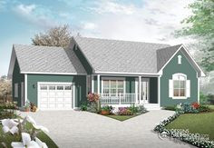 Traditional, Bungalow, Contemporary House Plans - Home Design # 12364 Porch House Plans, Bedroom House Plans, Small House Plans, French Country House Plans, Country House Design, Home Design, Ranch Home Floor Plans, House Floor Plans, Small Country Homes