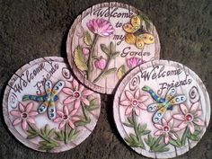STEPPING STONES,THREE(3)!JEWELED W/SENTIMENT,NWT,$8.33 EA!,RESIN STONE-FREE SHIP #Unbranded