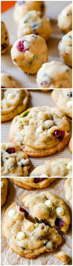 These incredibly soft and buttery, salty and sweet white chocolate cranberry pistachio cookies will be your new favorite. There is so much texture in every bite of these holiday cookies! Holiday Baking, Christmas Baking, Christmas Foods, Merry Christmas, Best Cookie Recipes, Holiday Recipes, Christmas Recipes, Cookie Desserts, Dessert Recipes