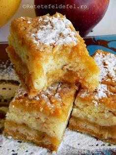 prajitura cu mere 038 Romanian Desserts, Romanian Food, Peach Yogurt Cake, Easy Cake Recipes, Dessert Recipes, Homemade Sweets, Vegan Sweets, Sweet Cakes, No Bake Cake