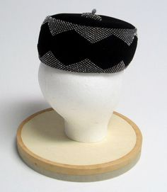 4adc5cb2c8291 Items similar to Leslie James Black Velvet Pillbox Hat with Rhinestone  Detail on Etsy