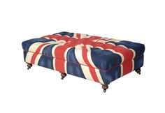 The Union Jack Bensington is a playful and bold, graphic print of the Union Jack on an oversized footstool.