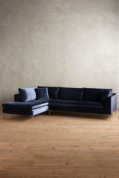 Anthropologie Slub Velvet Edlyn Left Arm Sectional