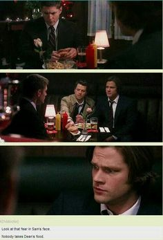 [GIFSET] My Bloody Valentine /// Look at the fear on Sam's face. No one takes Dean's food. -- Haha --Can we also talk about the episode name? It is also the name of one of Jensen Ackles' (Dean's) films! Castiel, Supernatural Destiel, Sam Dean, Misha Collins, Jared Padalecki, Jensen Ackles, Fandoms, Dean Foods, Impala 67