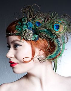 Peacock headband - Gatsby wedding - Absinthe Nymph Peacock Feather Flapper  Headband by BaroqueAndRoll, $96.00