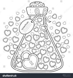 Vector coloring for adults. My love for you. Valentines closed in a glass bottle - buy this stock vector on Shutterstock & find other images. Valentines Day Coloring Page, Heart Coloring Pages, Colouring Pages, Coloring Pages For Kids, Coloring Books, Printable Adult Coloring Pages, Floral Letters, Digital Stamps, Doodles