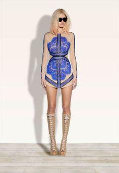 China Blue Lace Mesh Dress from jcjw