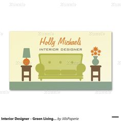 Shop Interior Designer - Green Living Room Sofa Business Card created by JillsPaperie. Living Room Green, Living Room Sofa, Business Card Design, Business Cards, Green Sofa, Interior Decorating, Interior Design, Flower Vases, Things To Come