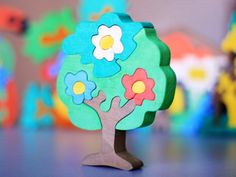 Puzzle TREE with flowers. wooden toys, wooden animal puzzle, eco-friendly handmade toys for babies, children, kids. $10.00, via Etsy.