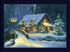 """Christmas Cottage is part of a series of counted thread embroidery designs from the watercolours of John Clayton. The stitch count is 172 x 123 with a design size of 12.25"""" x 8.75"""".  Supplies required:  15"""" (6"""" included for finishing) 14-count Aida (3706-101)   DMC Floss: 160 x 20, 161 x 24, 165, 341 x 17, 347 x 2, 451 x 4, 743 x 8, 814 x 2, 823 x 28, 907 x 2, 935 x 5, 3031 x 4, 3371 x 8, 3747 x 18, 3781 x 4, 3790 x 5, 3823 x 6, 3853 x 5"""