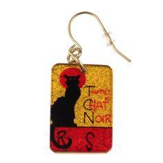 """4251-7 - 1/2"""" X 1"""" Rectangle Le Chat Noir Earring originjewelry.net"""