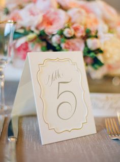 calligraphy table numbers by http://pspaperblog.blogspot.com | Photography by josevillaphoto.com | Event and Floral Design by kathleendeerydesign.com | Planning by lauriearons.com |   Read more - http://www.stylemepretty.com/2013/07/25/kathleen-deerys-san-francisco-wedding-from-jose-villa/